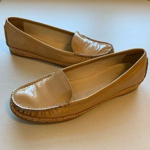 Stuart Weitzman Tan Patent Leather Slip On Loafers